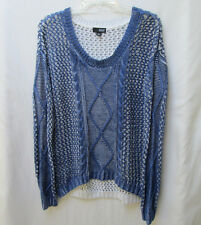 a.n.a Womens L Cotton Blend Blue-Paint Loose-Weave Sweater