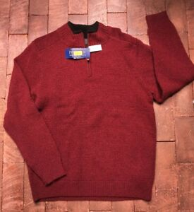 NEW Men's PENDLETON Red Lavable Washable Wool Sweater - Large - NWT $119 - C2