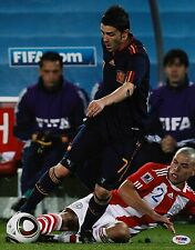 DAVID VILLA SPAIN SIGNED FC BARCELONA 11X14 PHOTO PSA COA P45679