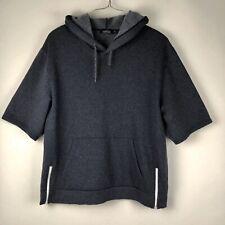 Topman Mens Fleece Lined Hoodie Sweatshirt Size XL Grey Short Sleeve Zips Accent