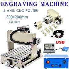USB Port 4 AXIS CNC Router 3020 Engraver 3D Milling Drill Engraving wood Machine