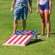 GoSports 4 ft. X 2 ft. American Flag Regulation Size Solid Premium Wood Cornhole Set
