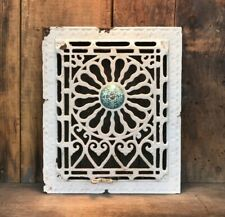 Rare Antique Cast Iron Heat Grate with Blue Floral Enamel Medallion and Louvers