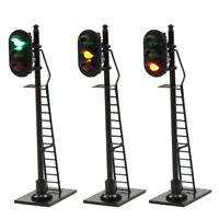 3pcs Model Railroad HO Scale Train Signals 3-Lights 1:87 Block Signal 63mm GYR