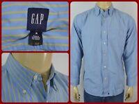 Gap Blue Green Striped Mens Medium Dress Casual Shirt Office Work Wear