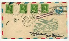 USA 1932 AIRMAIL COVER 5 CENT + 4 CENT UPRATED UNUSUAL LABEL POSTAL HISTORY