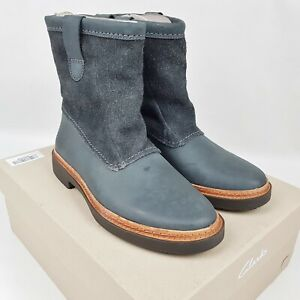 New Clarks 'Trace Fern' Dark Grey Leather Combi Slouch Ankle Boots Size 5.5 D