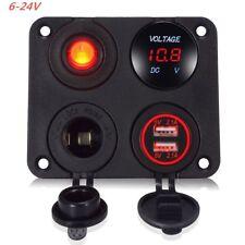 4in1 LED Voltmeter Dual USB Car Charger Switch Cigarette Lighter + Panel  6-24V