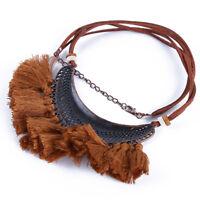 Ethnic Style Bohemian Boho Half Moon Tribal Tassel Fringe Necklace For Women S