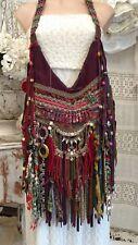 Handmade Purple Suede Leather Fringe Bag Hippie Festival Boho OOAK Purse tmyers