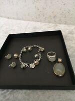 Mondstein  Schmuckset  Armband  Ring  Anhänger Ohringe Juwelier  925 Silber