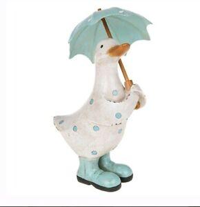 Davids Polka Dot Duck With Brolly Umbrella Aqua Blue New Ornament Gift 295601