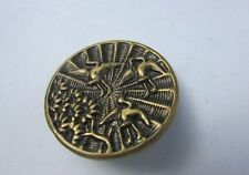 Button Antique Brass Picture Stork Swan Bird Tree Embossed Large Rare