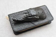 Nero Vera Pelle di Alligatore, coccodrillo in pelle uomo cerniera portafogli borsa