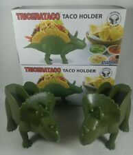 Lot of 2 Tricerataco Green Triceratops Dinosaur Taco Holder Barbuzzo w/Boxes