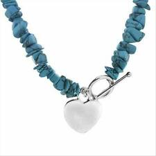925 Silver Lab Created Blue Turquoise Chips Heart Necklace
