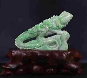 Certified Natural green(Grade A)jade jadeite lizard statue 19243 蜥蜴 摆件