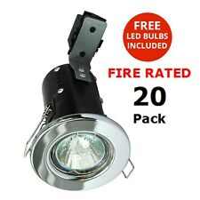 20x Fire Rated Downlights Recessed Spotlights Chrome with LED Bulbs Litecraft