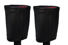 BLACK STITCH 2X SEAT BELT STALK LEATHER SKIN COVERS FITS KIA SOUL 2009-2014