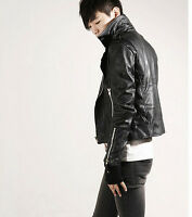 Men Outdoor Short Coat Rider Korea Stylish PU Leather Jacket Biker Slim Zipper