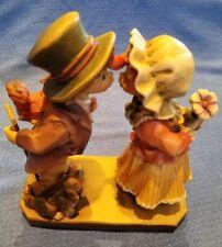 Anri Ulrich Bernardi Signed Wood Carving Boy W/ Dog & squirrel and girl 211/750