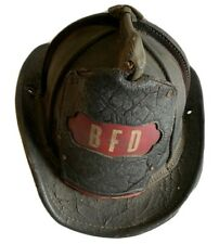 Vintage Cairns & Brothers Leather Firefighting Helmet w/BFD Front Shield