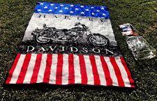 """Vtg HARLEY DAVIDSON MOTORCYCLE Biederlack Afghan Throw Blanket US Flag 60""""x 80"""""""