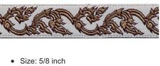 "10 yds 5/8"" CELTIC SWIRL JACQUARD RIBBON TRIM IVORY / TAUPE / BROWN NICE"