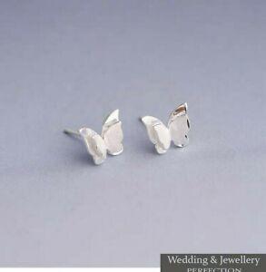 Girls 925 Sterling Silver Butterfly Earrings Childrens Kids Jewellery Crystals