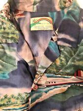 Paradise Found Vtg Aviation Sikorsky S-42 Camp Aloha SS Shirt Navy Hawaii 2XL