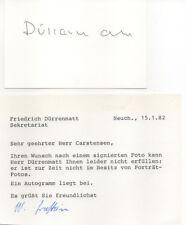 Autogramm - Friedrich Dürrenmatt mit Begleitschreiben