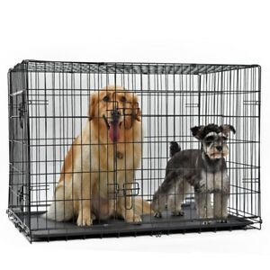 Dog Animal Cage Puppy Crate Pet Training Carrier SMALL MEDIUM LARGE XL with Tray