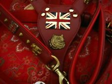 BRITISH BULL DOG HARNESS & LEAD SET IN RED LEATHER