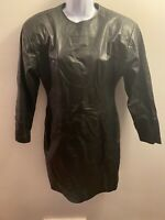 Vintage AMBRIA Black Korea Genuine Leather Big Shoulder Dress Size 6 Body Con