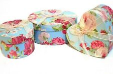 Set of 3 Gift Boxes Blue Background Pink Roses Pink Ribbon Heart, Oval, Circle