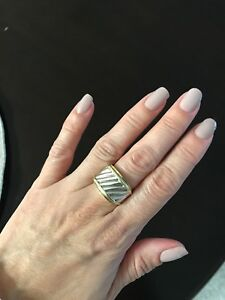 David Yurman Jewelry Sterling Silver14K Yellow Gold Cigar Cable Ring Size 6-7