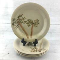 Gibson Design MOJAVE PALM Tan Smooth Round Stoneware 10 3/8 Dinner Plates Set 4