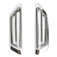 2x Plastic Chrome Car SUV Air Flow Fender Side Vent Decor Sticker Accessories