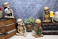 Addicted to The Bones Drinking Puffing Smoking Vices Skeletons Figurine Set of 4