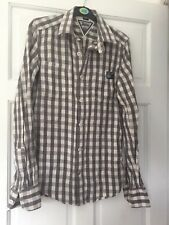 SUPERDRY SHIRT SMALL GREY GINGHAM CHECK WHITE FLANNEL LONG SLEEVE GRID