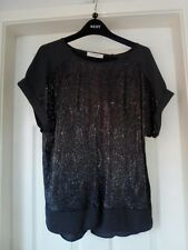 Ladies Grey & Gold Sparkly Short Sleeved Christmas Party Top size L by OASIS