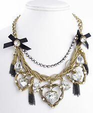 Betsey Johnson ICONIC HEART OF GOLD Hematite & Gold-Tone Frontal Necklace NEW