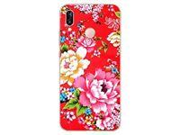 Huawei P20 Lite - Coque Gel souple anti choc avec motif de qualité (Fleur Rouge)