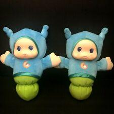 Lot of 2 Lullaby Gloworm Blue Plush Light Up Toy Playskool Hasbro Moon Lovey