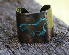 COWGIRL WESTERN RUNNING HORSE HAMMERED METAL CUFF BRACELET COPPER PATINA BOHO