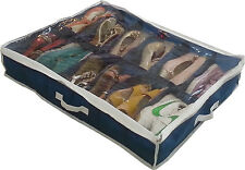 Under Bed Storage Home Household Shoe Box 12 Cells Foldable Closet Organizers