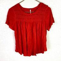 Free People Women's Orange Size M Pintuck Short Sleeve Knit Top