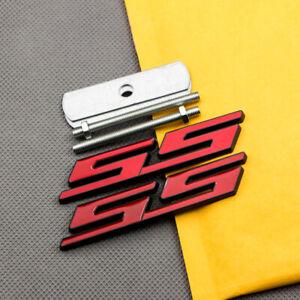 Metal Black & Red SS Grille Emblem + Car Trunk Lid Badge Sport Decal for Camaro