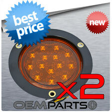 "2-ROUND 4"" TRUCK TRAILER AMBER LED LIGHT TURN SIGNAL PARKING 14DIODE FLUSH MOUNT"
