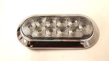 "1 - 6"" Oval Flange Mount 10 LED Amber Clear Light Chrome w/ Bezel Trailer Truck"
